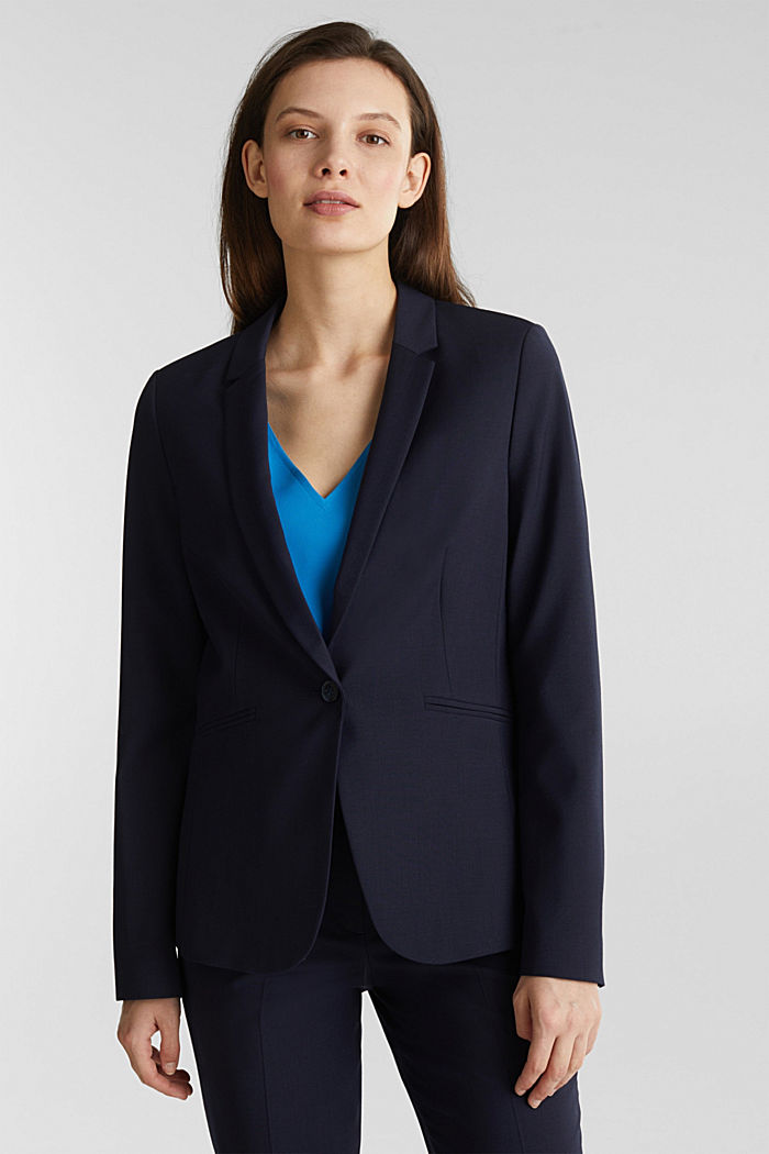 Mit Wolle: ACTIVE Mix + Match Stretch-Blazer, NAVY, overview