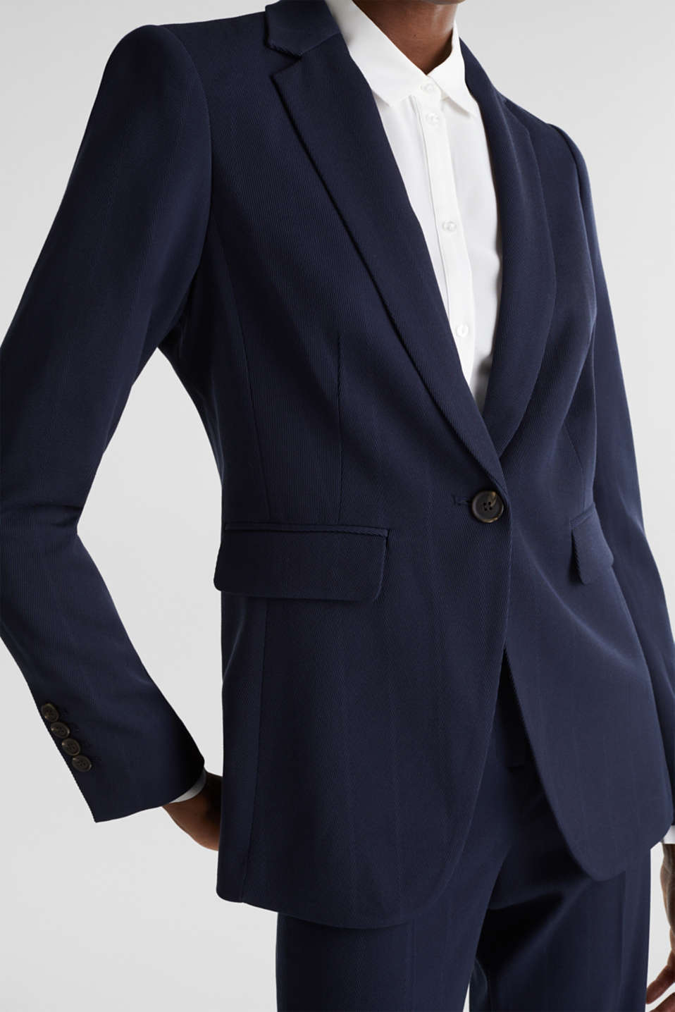 STRUCTURE STRIPES textured blazer, NAVY, detail image number 2