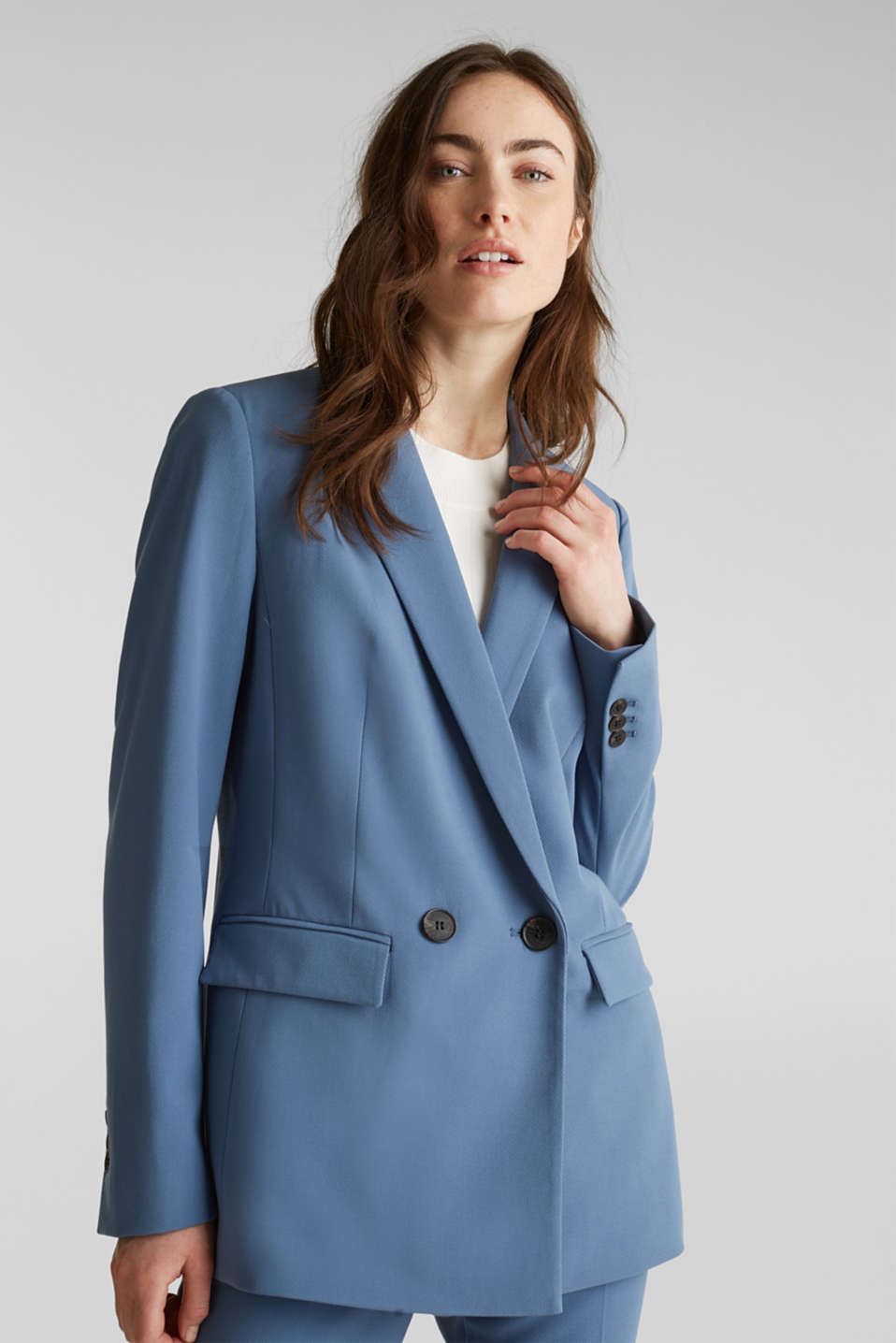 Esprit - COLORED TWILL Mix + Match stretch blazer