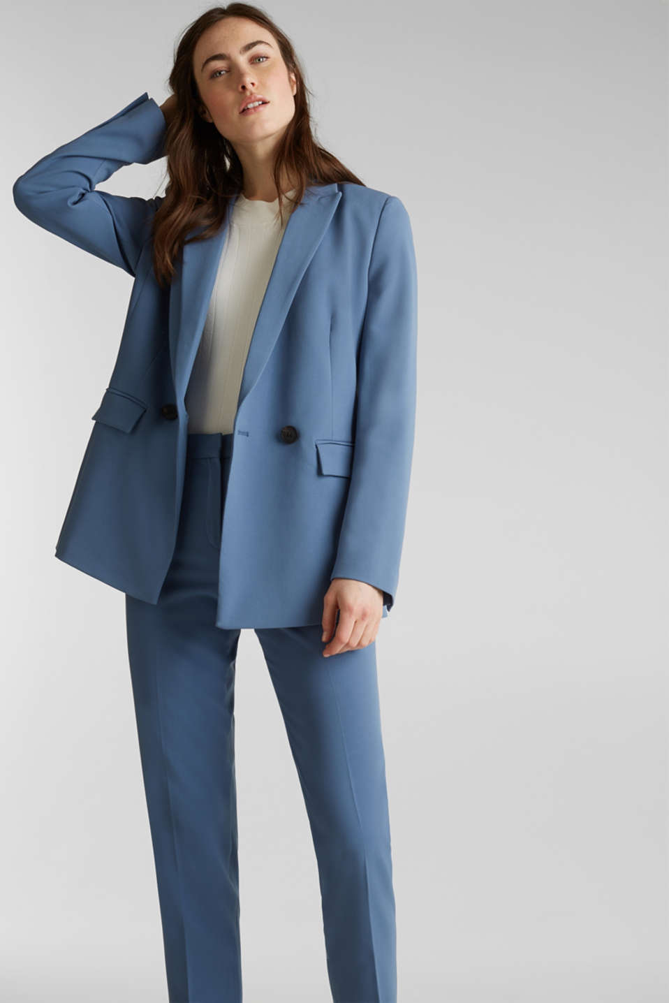 COLORED TWILL Mix + Match stretch blazer, GREY BLUE, detail image number 6