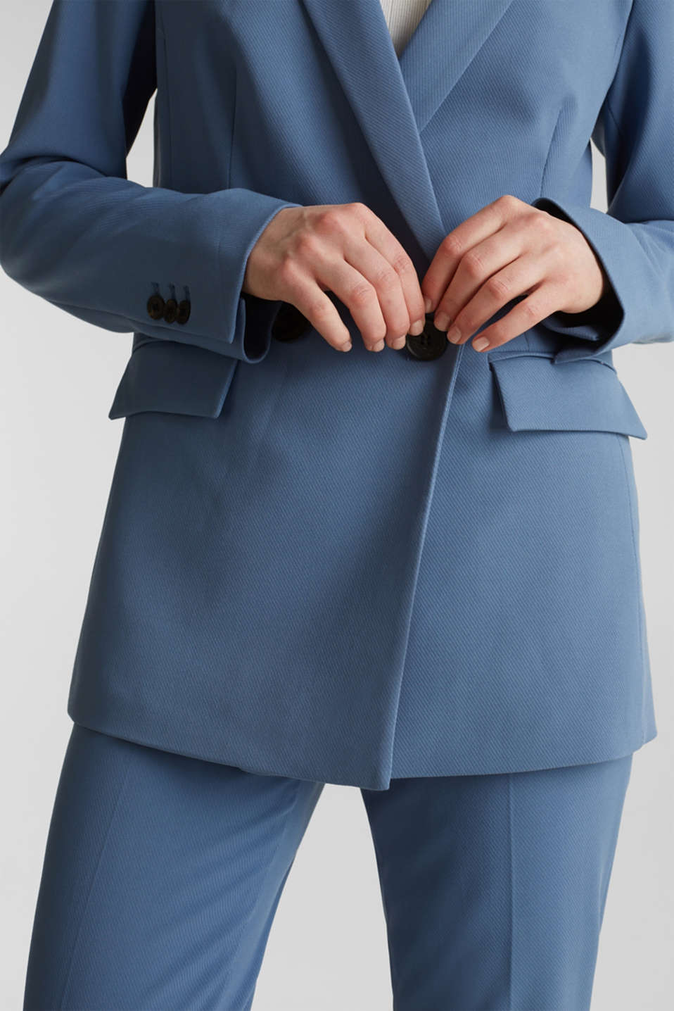 COLORED TWILL Mix + Match stretch blazer, GREY BLUE, detail image number 5