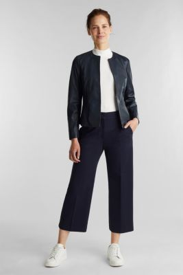 Feminine, fitted jacket made of leather, NAVY, detail