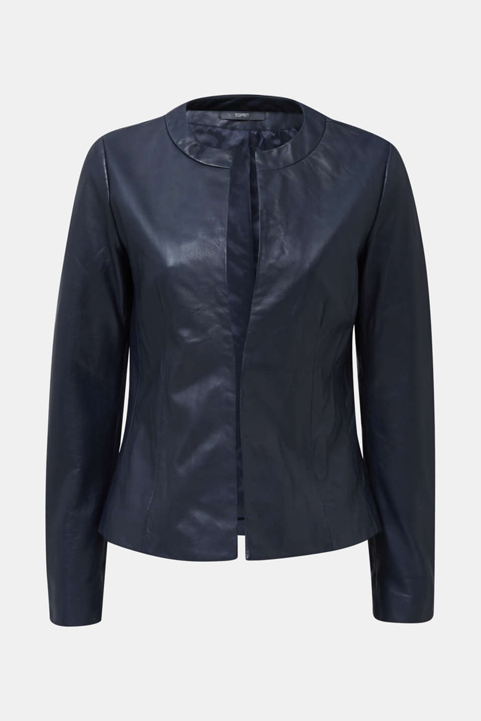 Feminine, fitted jacket made of leather, NAVY, detail image number 6