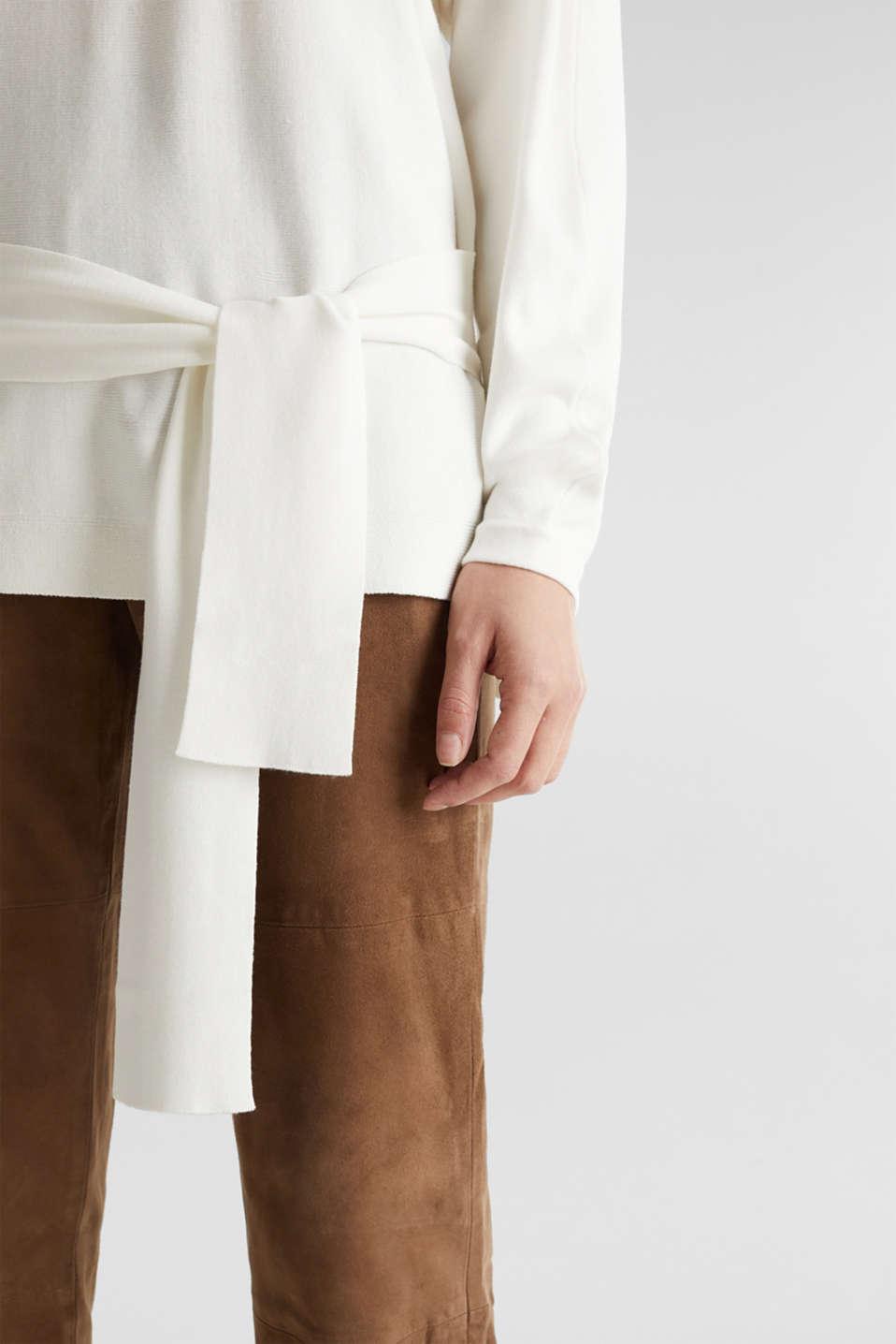 Jumper with tie-around belt, OFF WHITE, detail image number 2