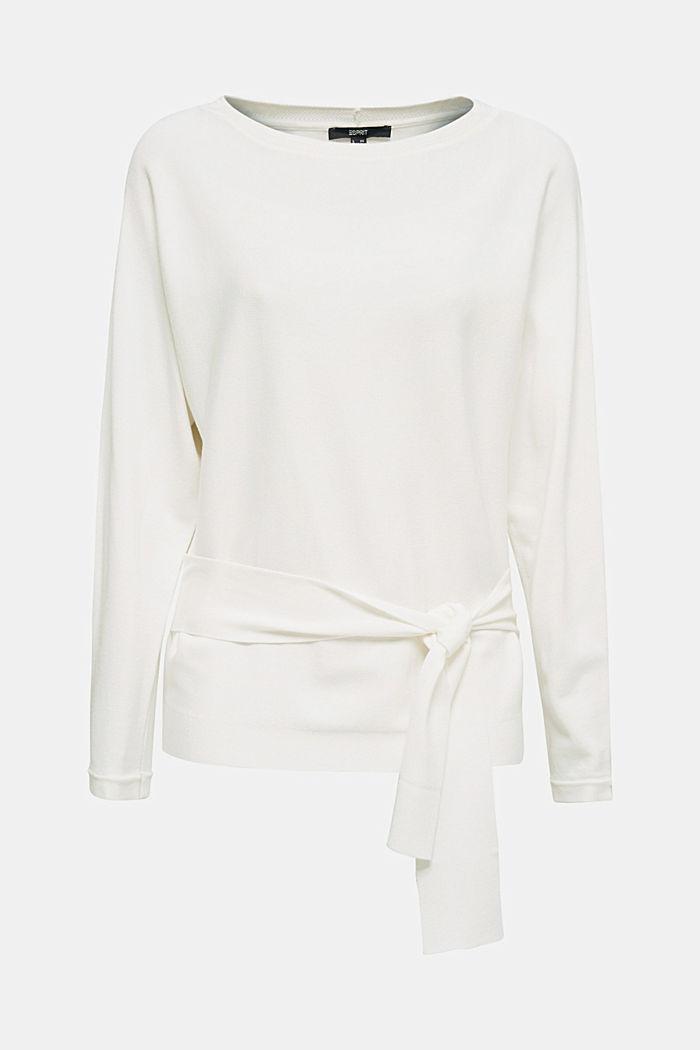 Pullover mit Bindegürtel, OFF WHITE, detail image number 0
