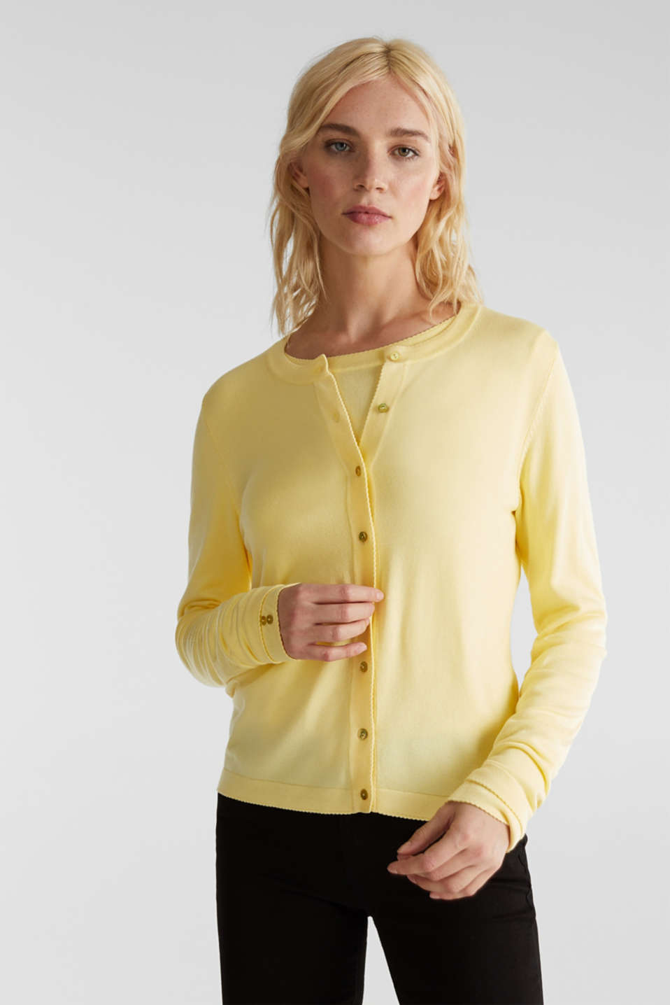 Cardigan containing LENZING™ ECOVERO™, LIME YELLOW, detail image number 0