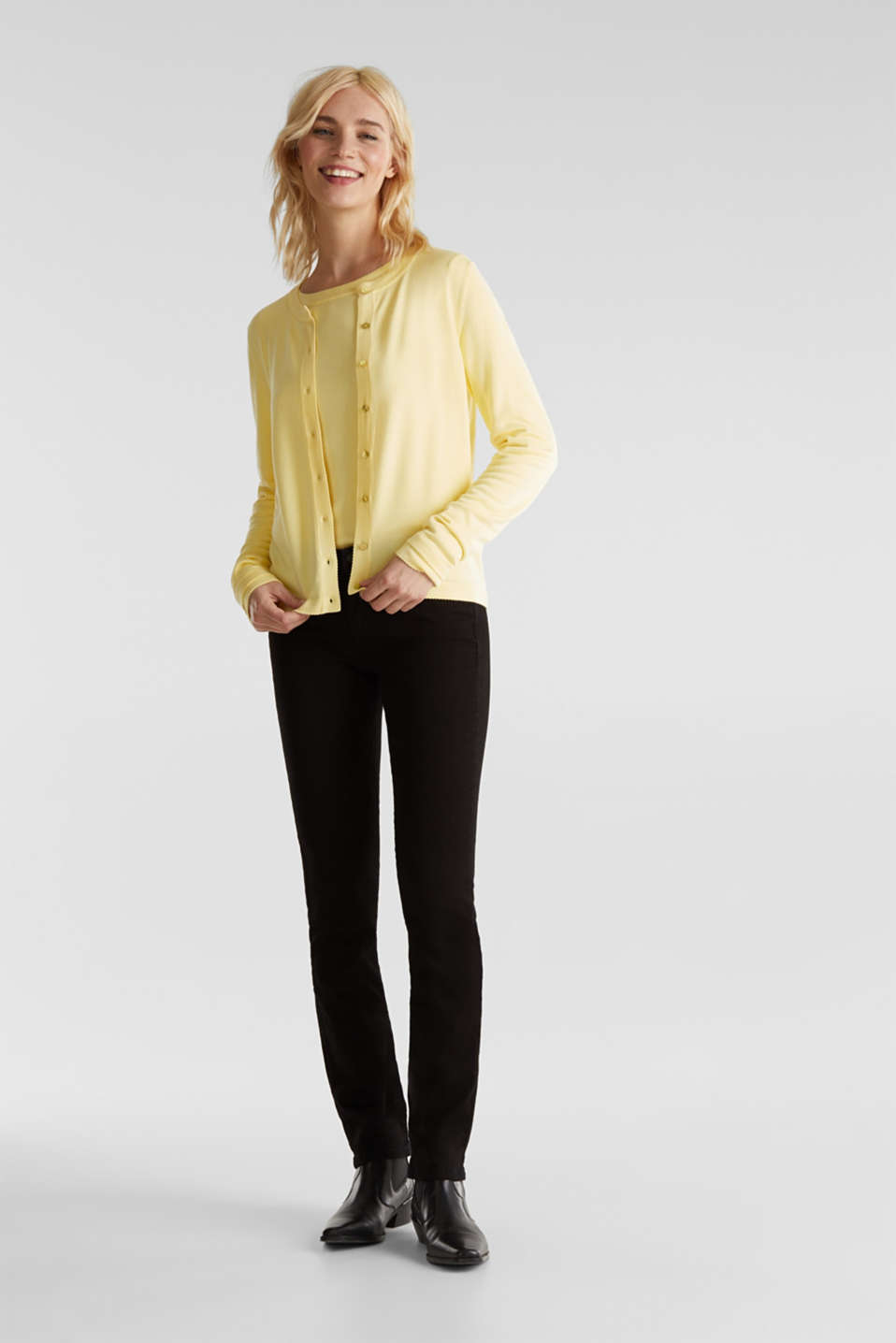 Cardigan containing LENZING™ ECOVERO™, LIME YELLOW, detail image number 1
