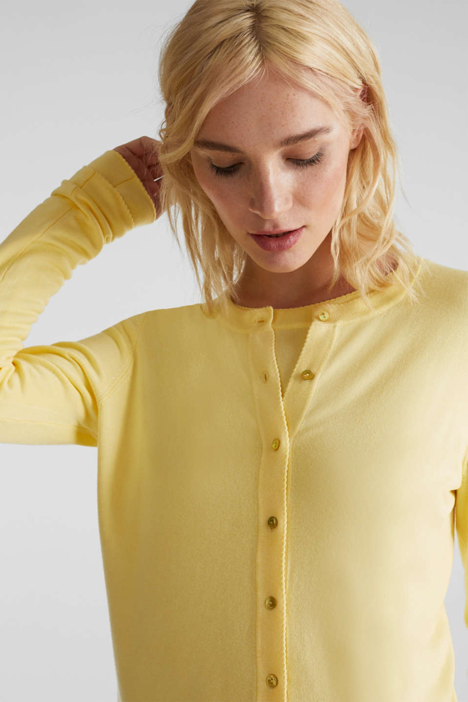 Cardigan containing LENZING™ ECOVERO™, LIME YELLOW, detail image number 2