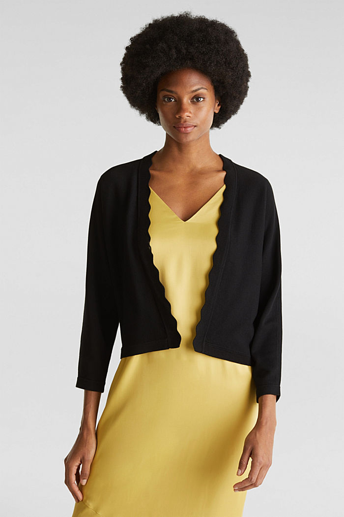 Fine-knit bolero with a scalloped edge, BLACK, detail image number 0
