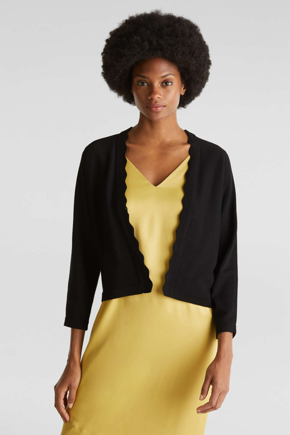 Esprit - Fine-knit bolero with a scalloped edge