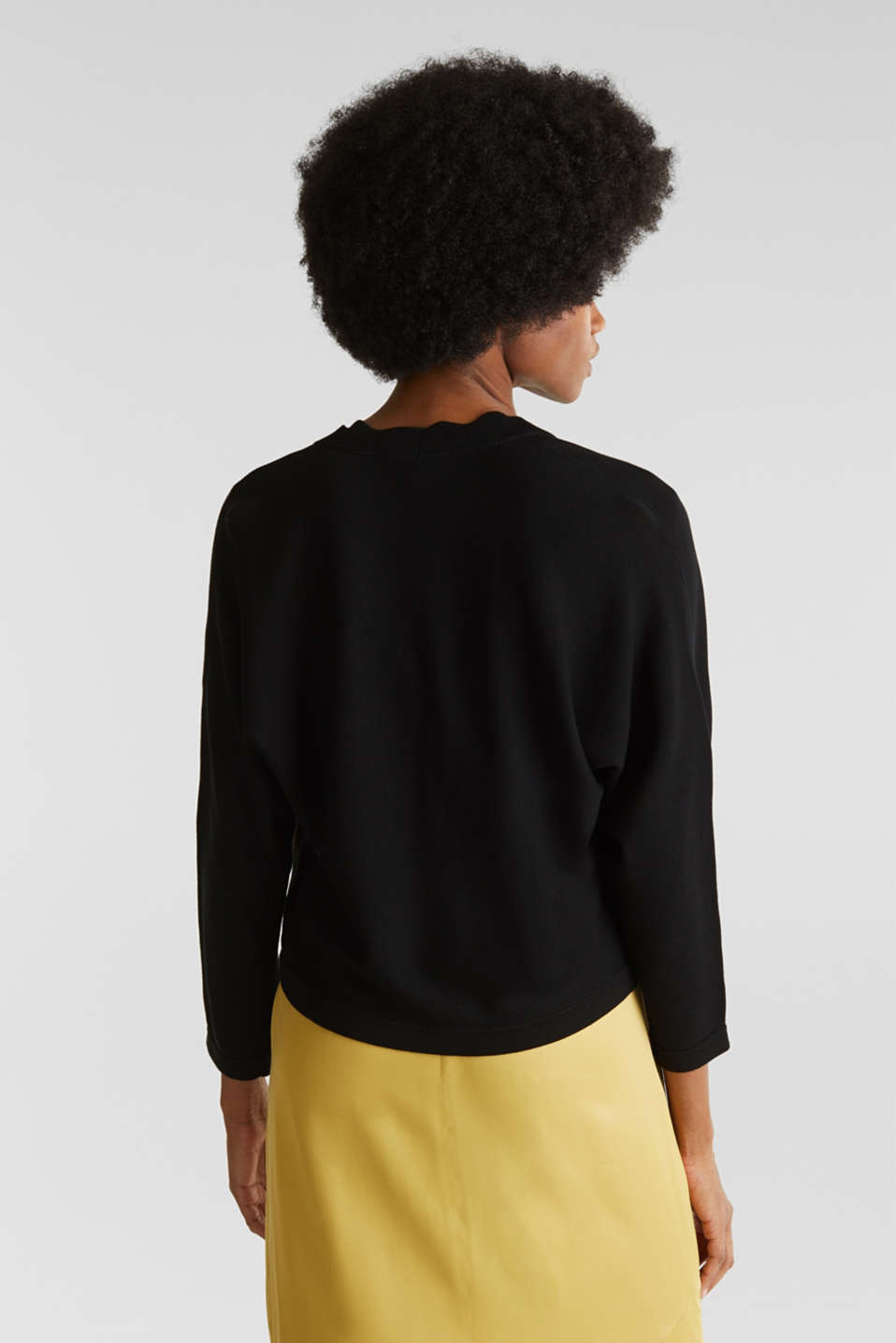 Fine-knit bolero with a scalloped edge, BLACK, detail image number 3
