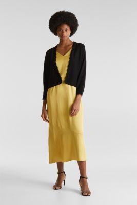 Fine-knit bolero with a scalloped edge, BLACK, detail