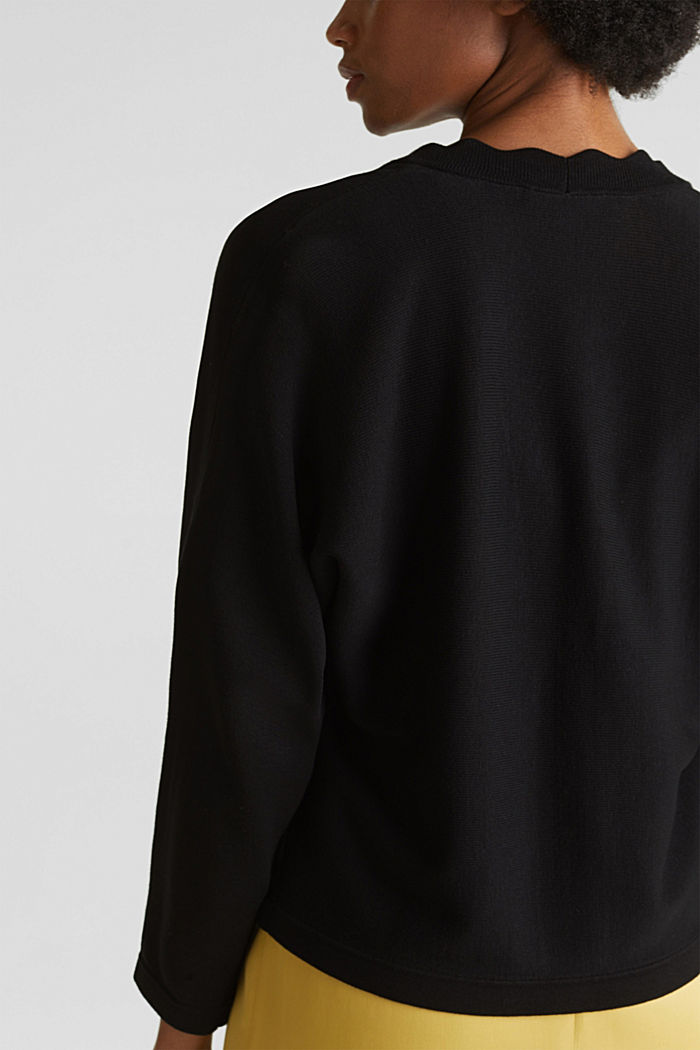 Fine-knit bolero with a scalloped edge, BLACK, detail image number 5