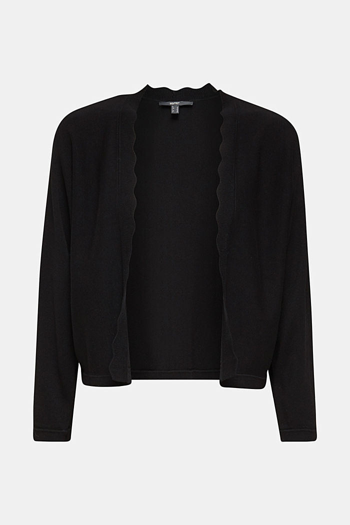 Fine-knit bolero with a scalloped edge, BLACK, detail image number 7