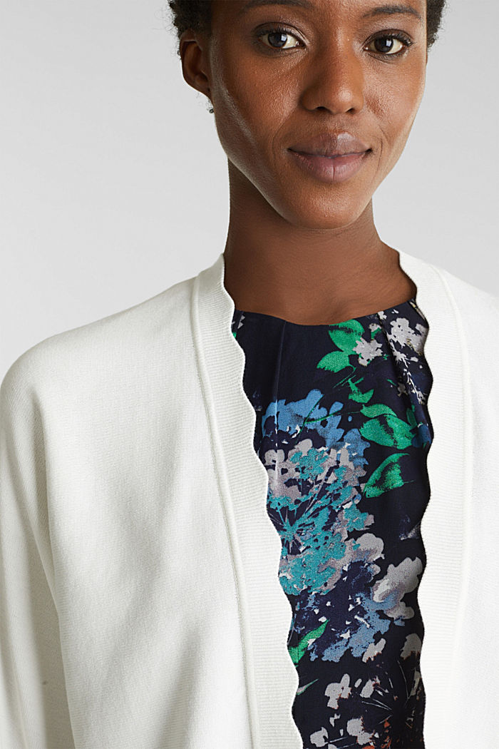 Fine-knit bolero with a scalloped edge, OFF WHITE, detail image number 2