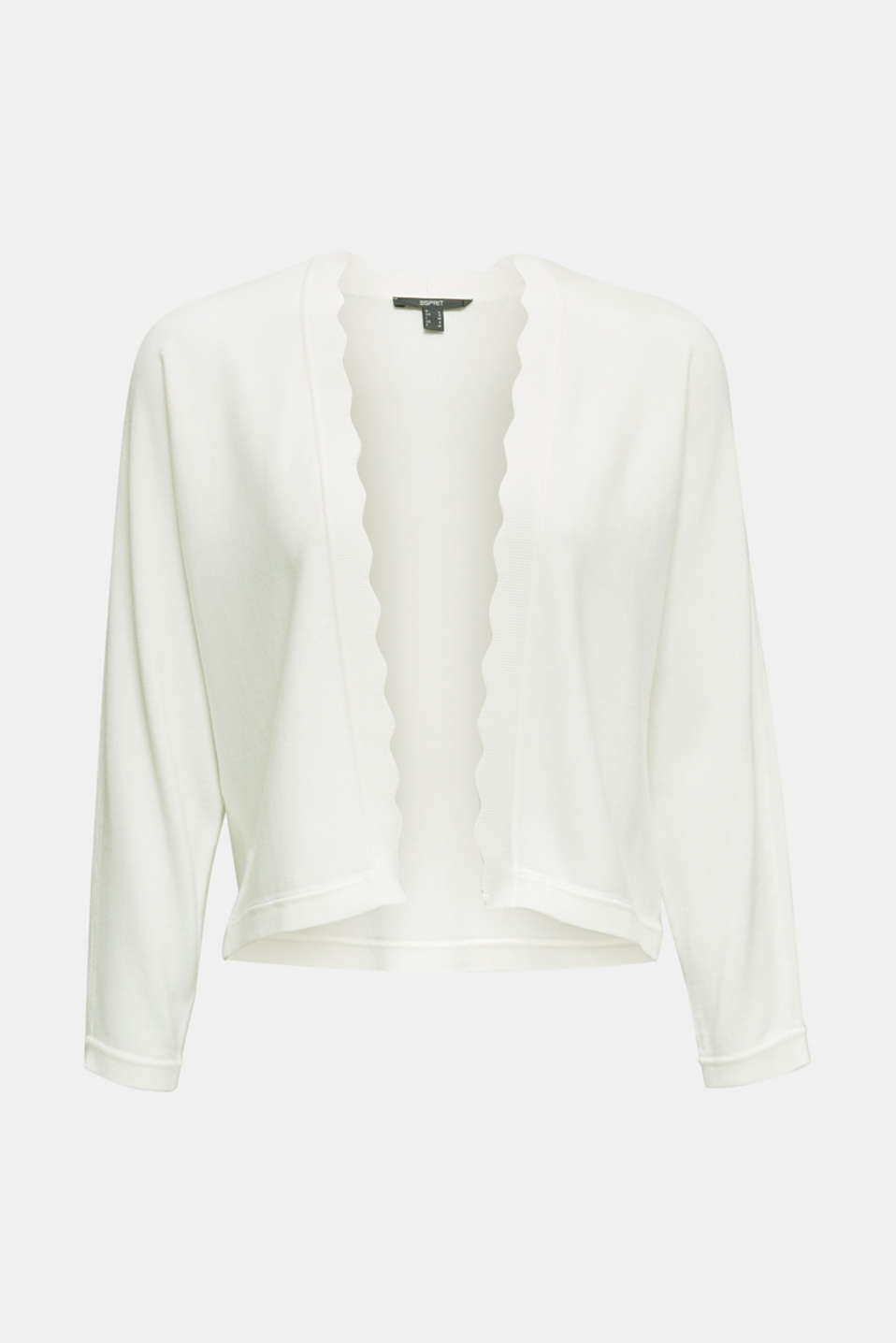Fine-knit bolero with a scalloped edge, OFF WHITE, detail image number 5