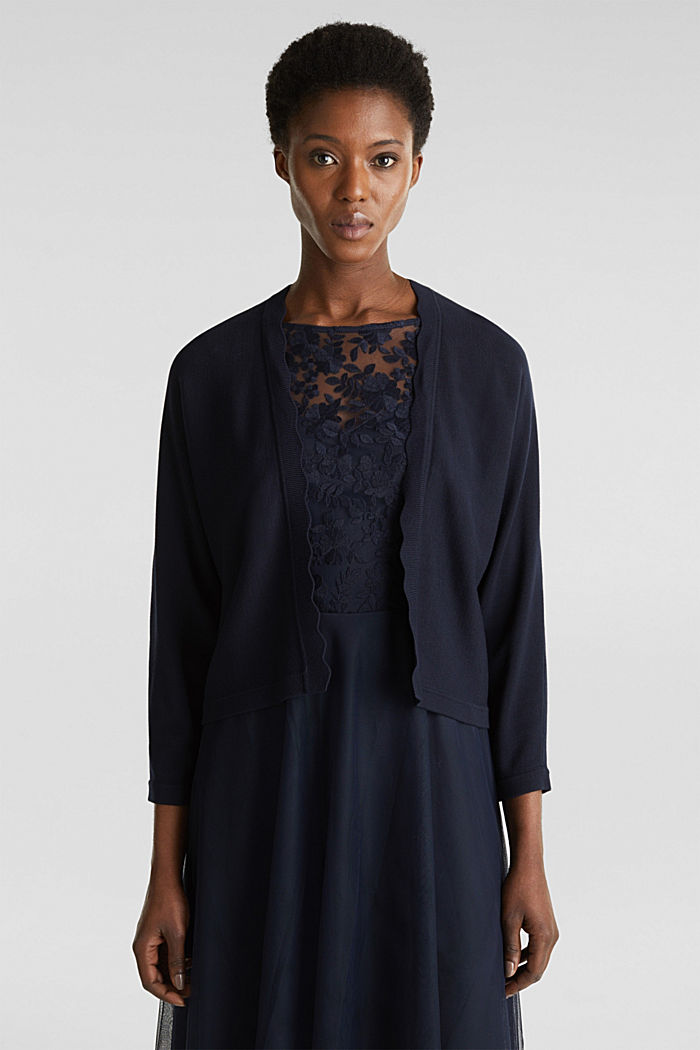 Fine-knit bolero with a scalloped edge, NAVY, detail image number 0