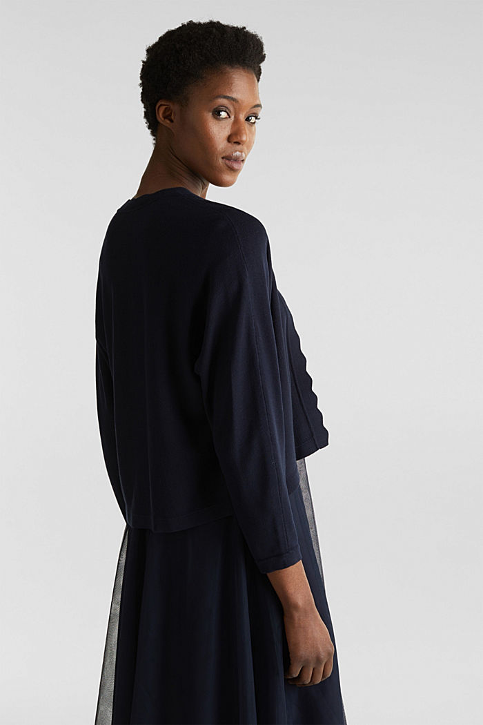 Fine-knit bolero with a scalloped edge, NAVY, detail image number 3