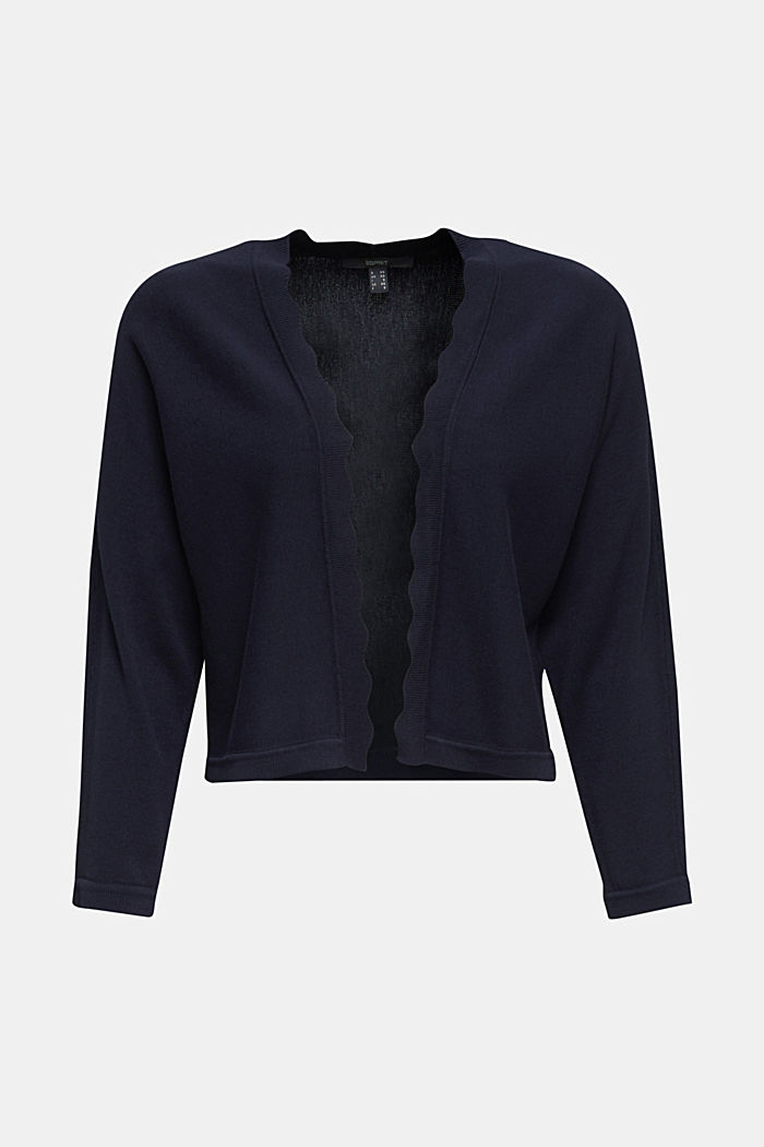 Fine-knit bolero with a scalloped edge, NAVY, detail image number 7