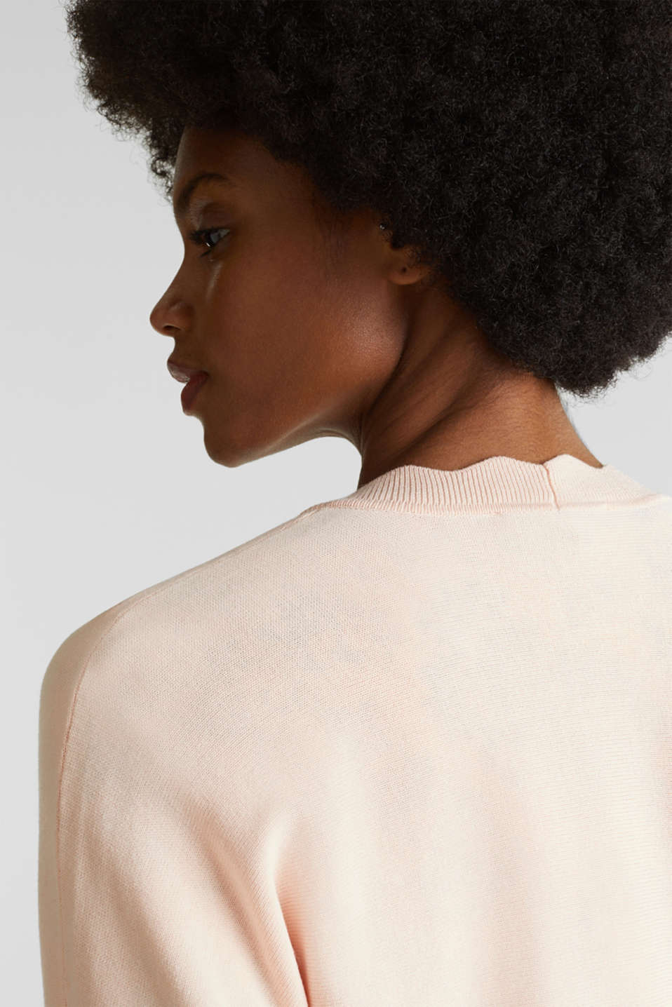 Fine-knit bolero with a scalloped edge, PASTEL PINK, detail image number 2
