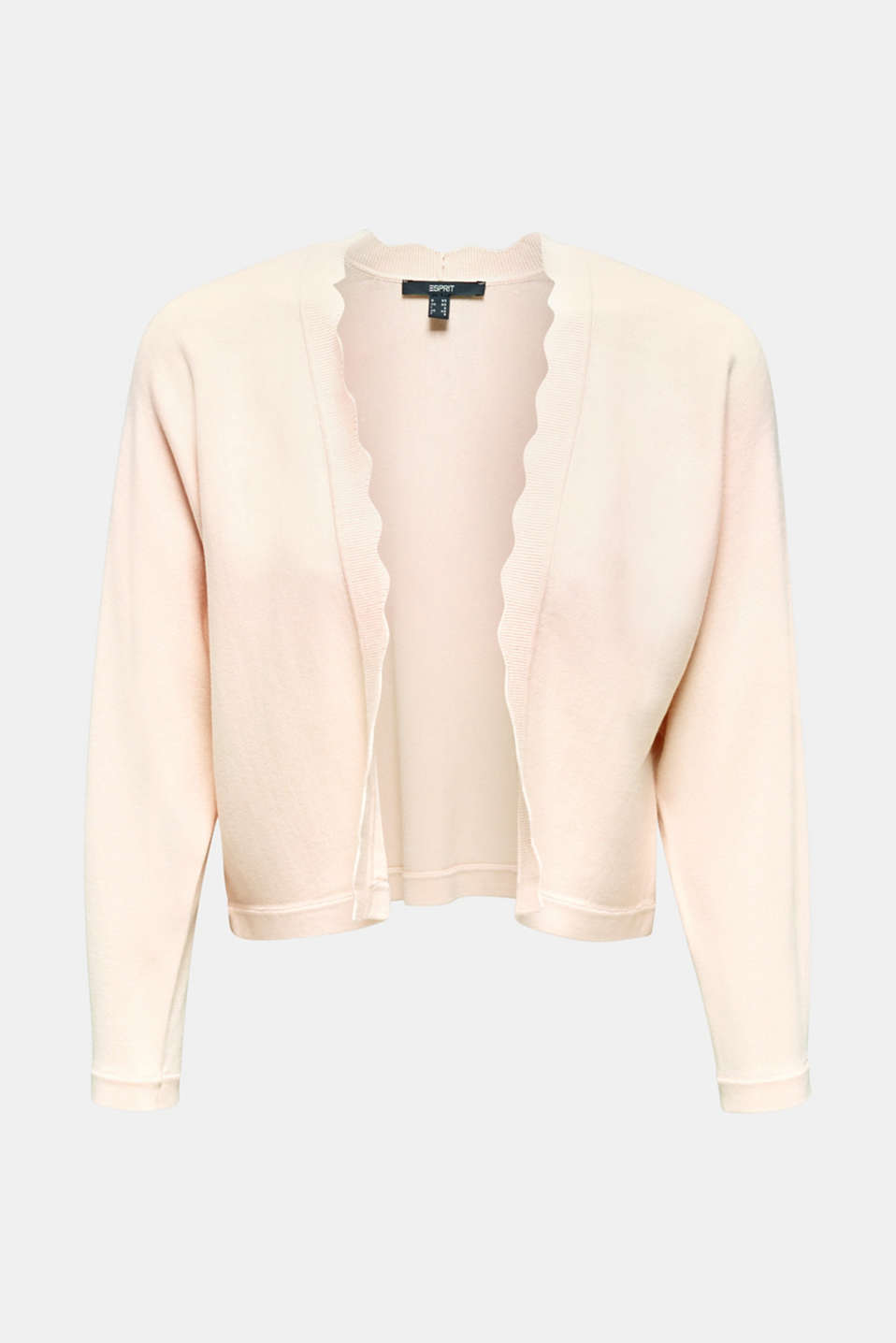 Fine-knit bolero with a scalloped edge, PASTEL PINK, detail image number 6