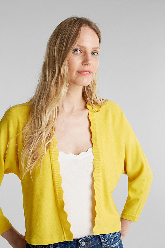 Fine-knit bolero with a scalloped edge, YELLOW, detail image number 0