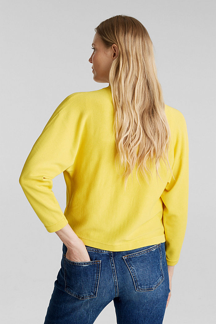 Fine-knit bolero with a scalloped edge, YELLOW, detail image number 2
