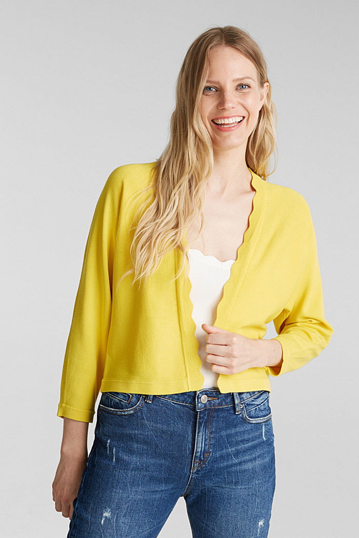 Fine-knit bolero with a scalloped edge, YELLOW, detail image number 4