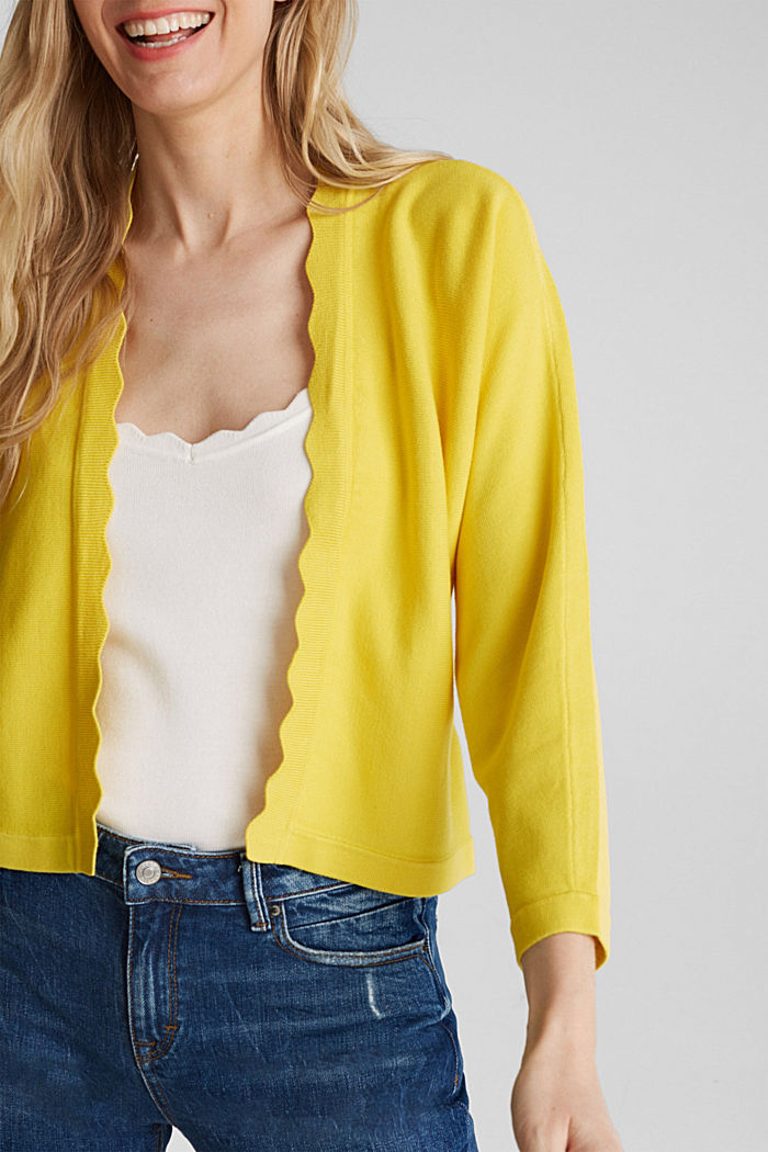 Fine-knit bolero with a scalloped edge, YELLOW, detail image number 1