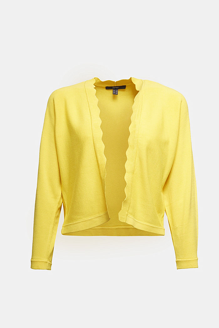 Fine-knit bolero with a scalloped edge, YELLOW, detail image number 5