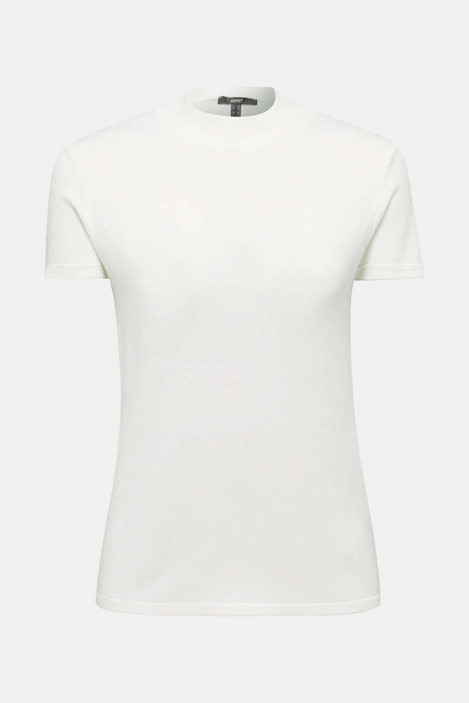 Short-sleeved jumper with stretch and LENZING™ ECOVERO™, OFF WHITE, detail image number 5