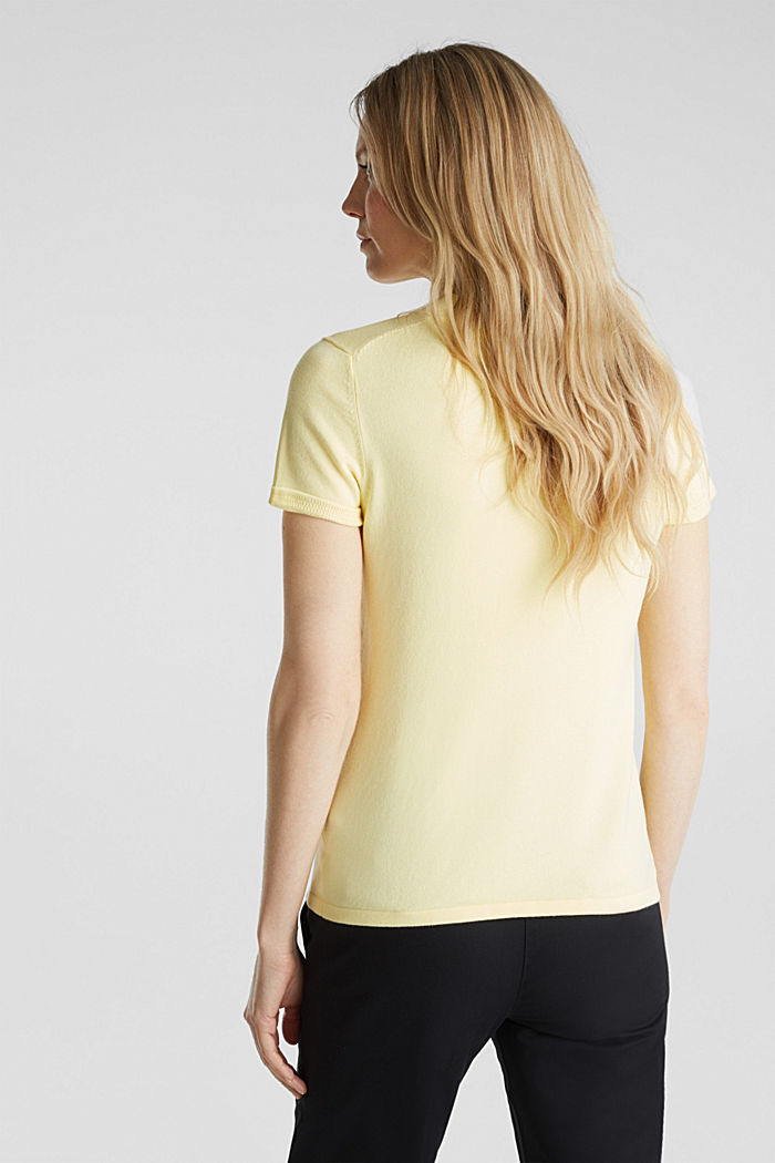 Kurzarm-Pullover mit Stretch und LENZING™ ECOVERO, LIME YELLOW, detail image number 3
