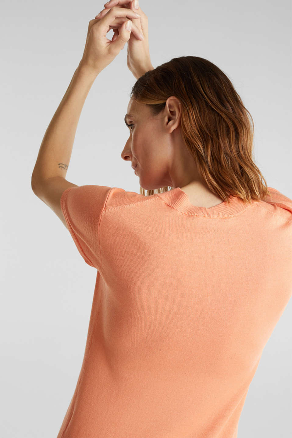 Short-sleeved jumper with stretch and LENZING™ ECOVERO™, ORANGE, detail image number 3