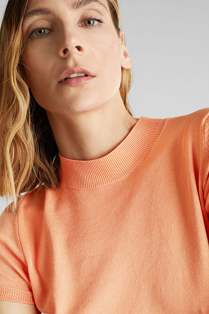 Kurzarm-Pullover mit Stretch und LENZING™ ECOVERO, ORANGE, detail image number 2