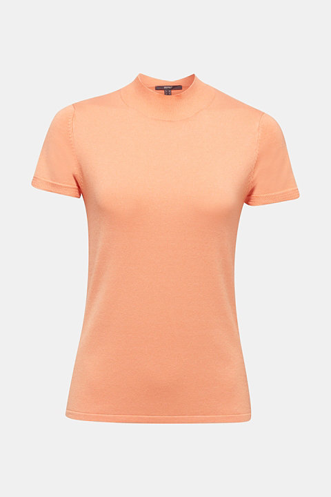 Short-sleeved jumper with stretch and LENZING™ ECOVERO™