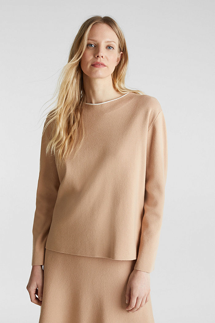 Stretch-Pullover mit Stehbund, LIGHT BEIGE, detail image number 0