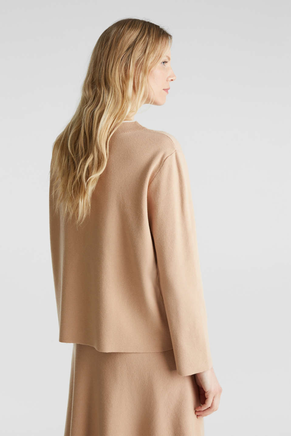 Stretch jumper with a stand-up waistband, LIGHT BEIGE, detail image number 3