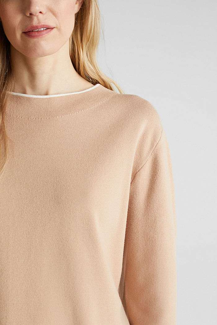 Stretch-Pullover mit Stehbund, LIGHT BEIGE, detail image number 2