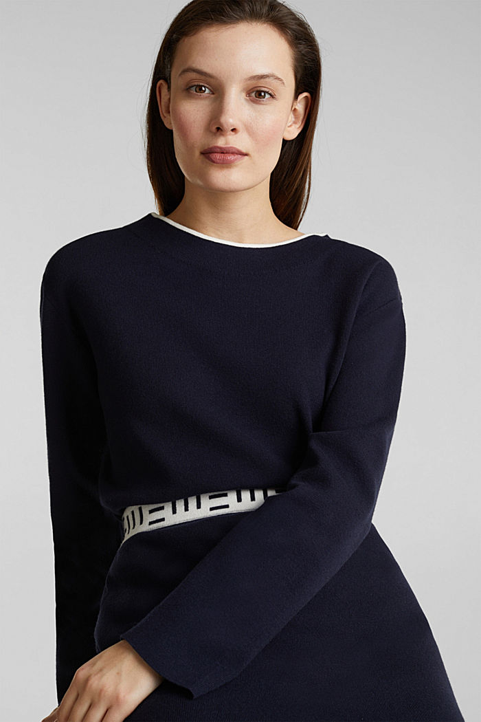 Stretch-Pullover mit Stehbund, NAVY, detail image number 0