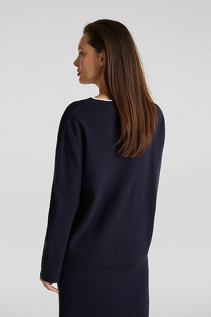 Stretch-Pullover mit Stehbund, NAVY, detail image number 3