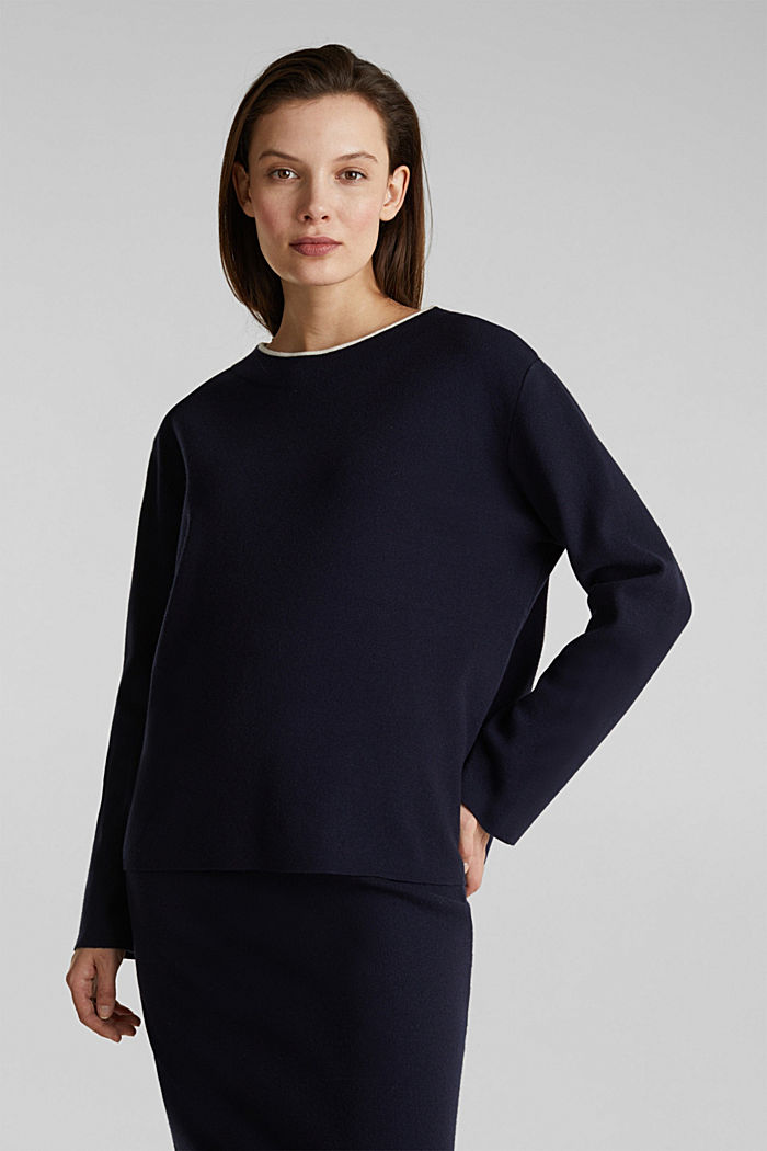 Stretch-Pullover mit Stehbund, NAVY, detail image number 5
