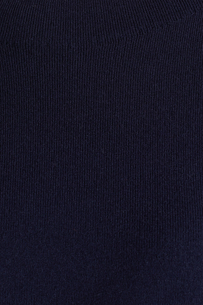 Stretch-Pullover mit Stehbund, NAVY, detail image number 4