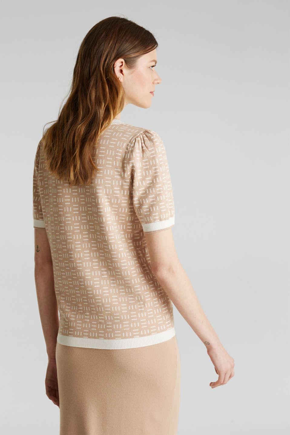 Short-sleeved jumper with a jacquard pattern, LIGHT BEIGE, detail image number 3