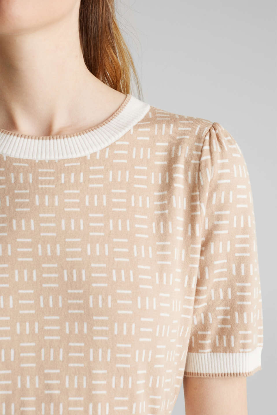 Short-sleeved jumper with a jacquard pattern, LIGHT BEIGE, detail image number 2