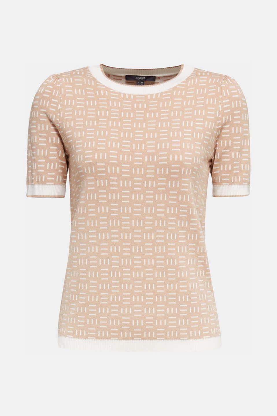 Short-sleeved jumper with a jacquard pattern, LIGHT BEIGE, detail image number 5