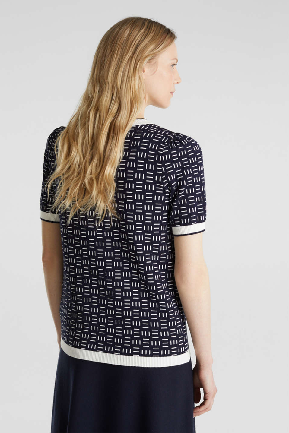 Short-sleeved jumper with a jacquard pattern, NAVY, detail image number 3