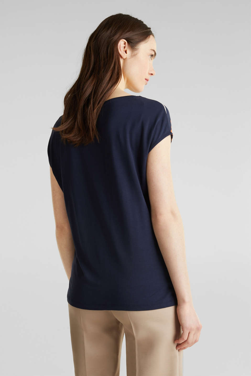 Top with colour block stripes, NAVY, detail image number 3
