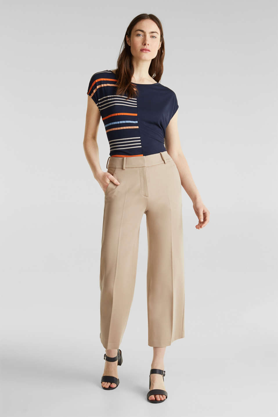 Top with colour block stripes, NAVY, detail image number 1