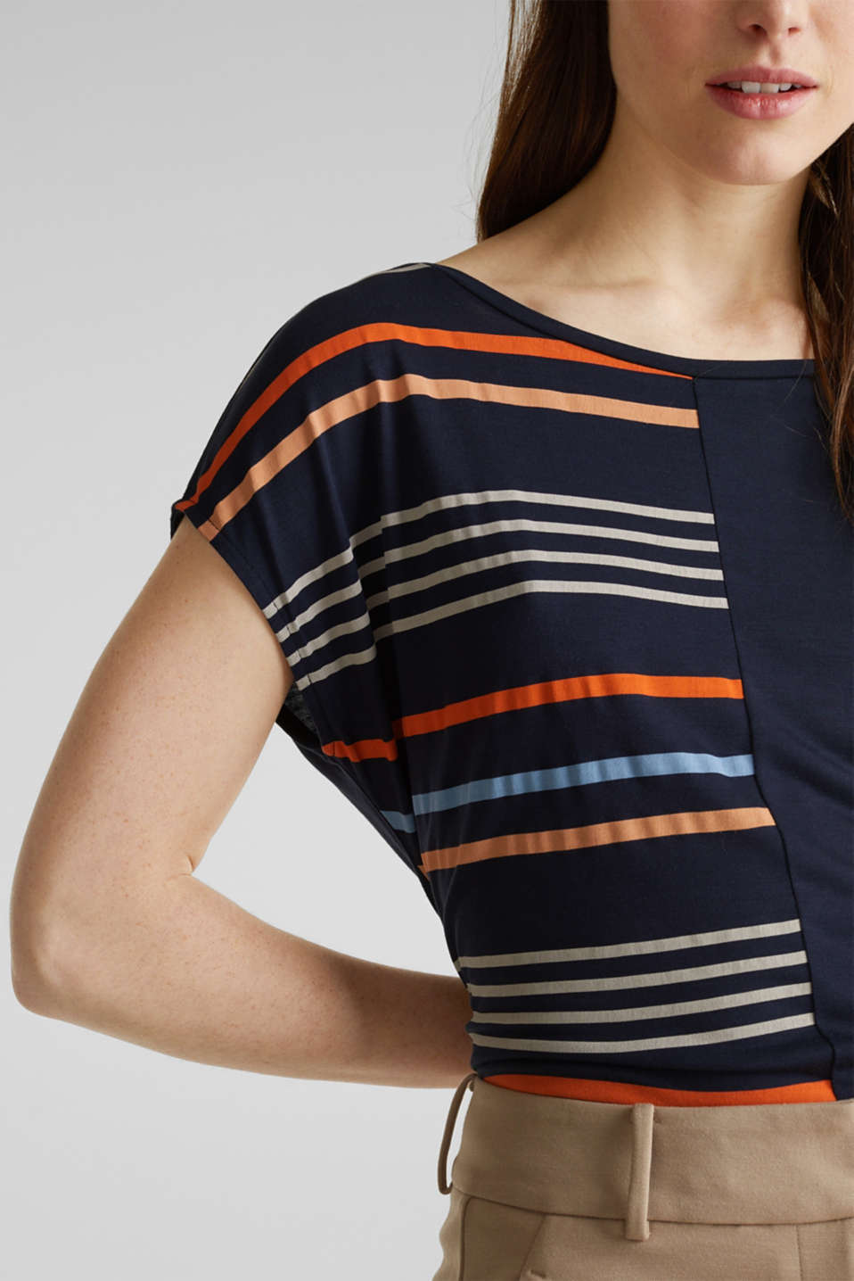 Top with colour block stripes, NAVY, detail image number 2