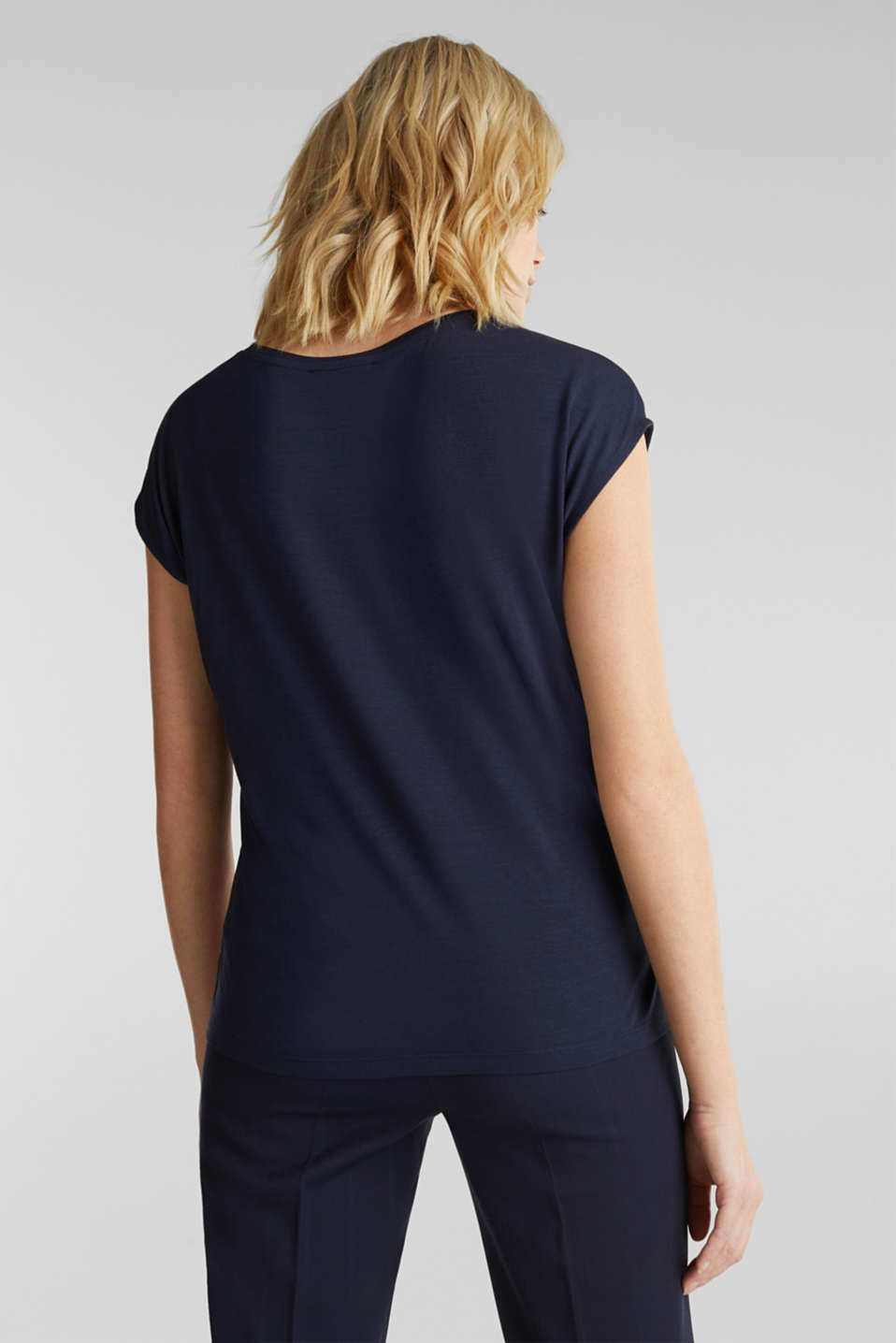Blouse top in a mix of materials, NAVY, detail image number 3